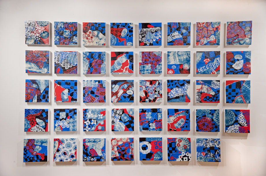 "<em>Something Old, Something New, Something Borrowed, Something Blue, Cyanotypes, string and acrylic on canvas, 39 10x10"" panels, 2015. </em>"