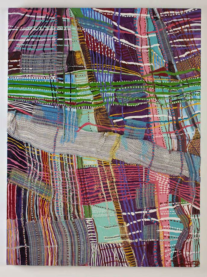 "<em>Object of Labor #2, Handwoven fabric, string, and oil on canvas, 48x36"", 2012.</em>"
