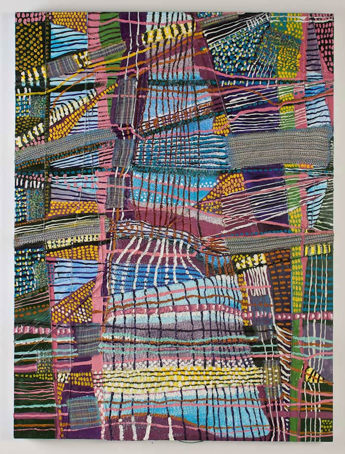 "<em>Object of Labor #3, Handwoven fabric, string, and oil on canvas, 48x36"", 2012. </em>"