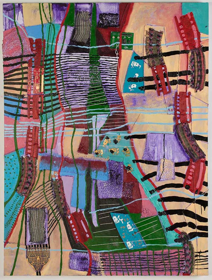 "<em>Object of Labor #5, Handwoven fabric, string, circuit boards, and oil on canvas, 48x36"", 2012. </em>"