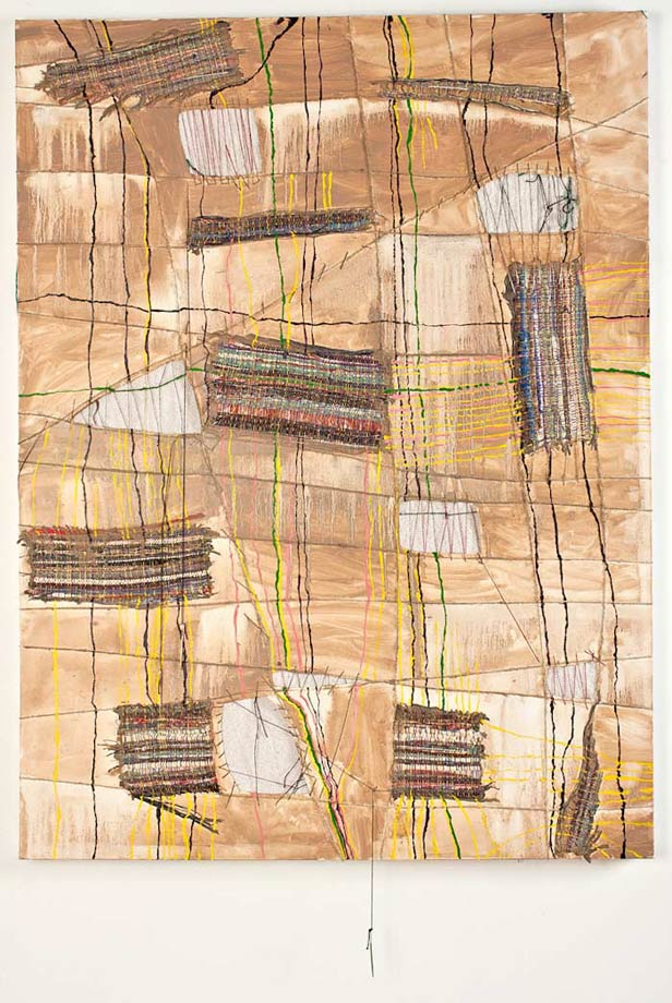 "<em>Object of Labor #6, Handwoven fabric, string, needles, and oil on canvas, 48x36"", 2012. </em>"