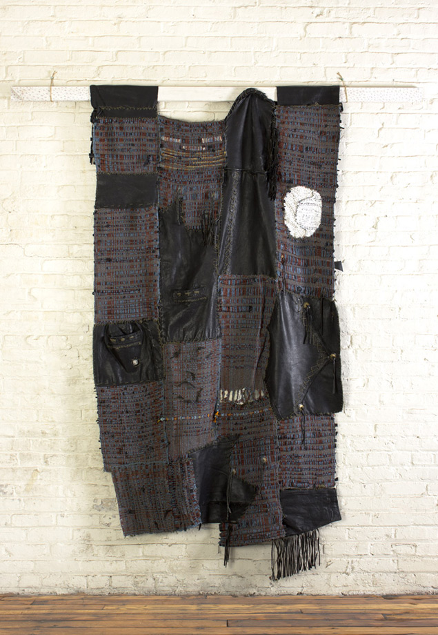 "<em>Bernie, handwoven leather jacket and yarn, 83x72"", 2014. </em>"