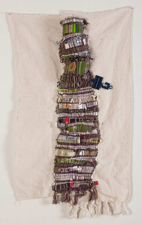 "<em>Phyllis, Discarded objects and handwoven fabric, 32x18"", 2012.  </em>"
